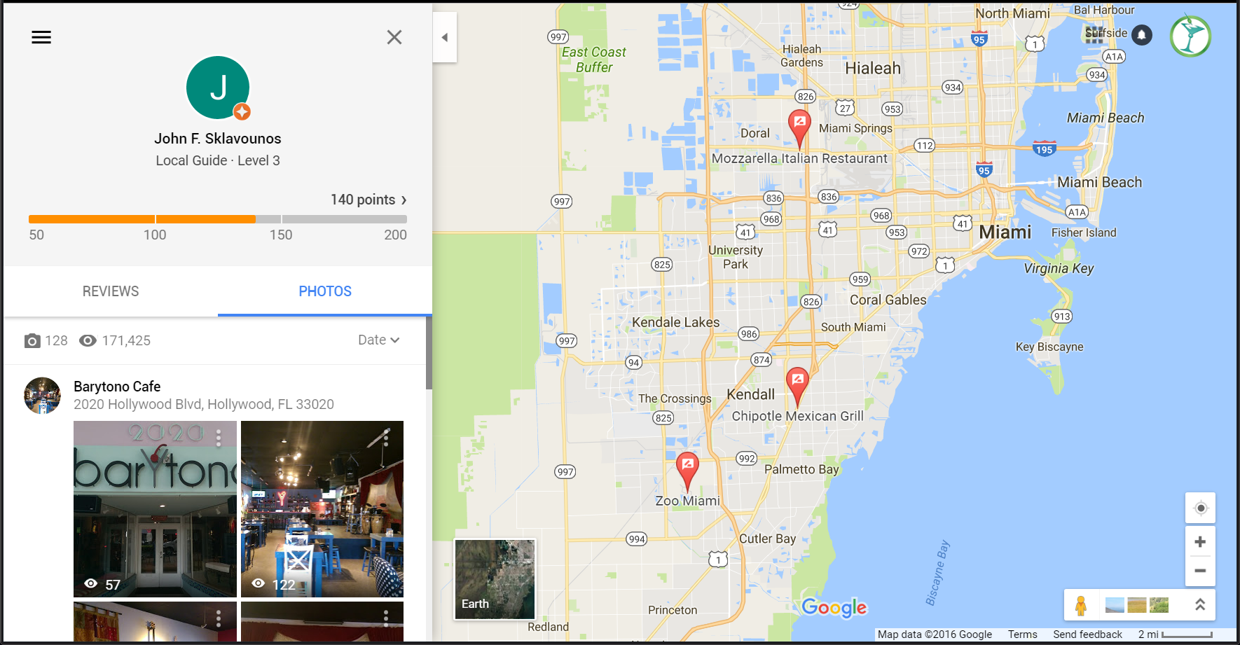 Social Media Google Maps views as of 2016-10-11